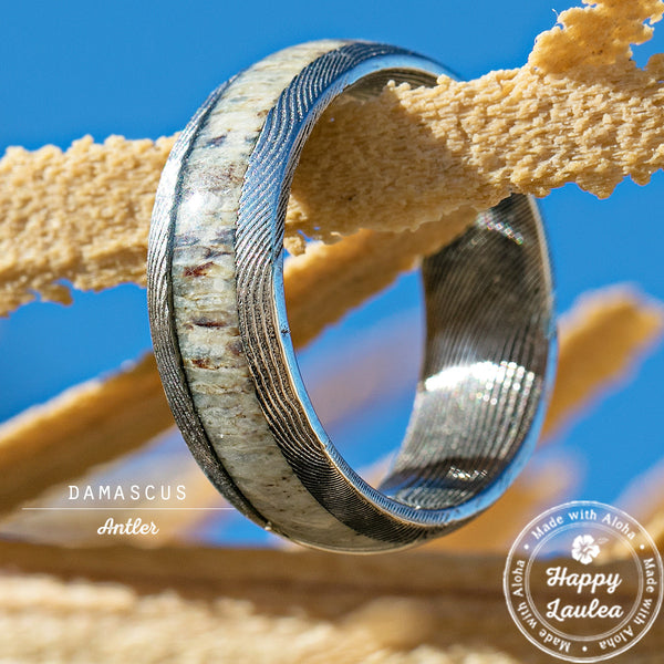Damascus Steel Ring with Antler Inlay - 8mm, Dome Shape, Comfort Fitment