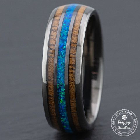 Gun Grey Tungsten Carbide Ring / Azure Blue Opal & Hawaiian Koa Wood Tri-Inlay / 8mm width / Barrel Shape, Comfort Fitment