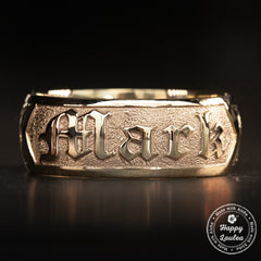 14K Gold Personalized Name Ring [6 or 8mm width] Hand Made Hawaiian Jewelry / Barrel Shape
