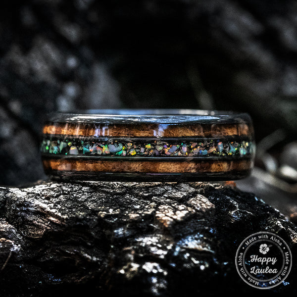 Black Zirconium Ring with Hawaiian Koa & Fire Opal Tri-Inlay - 6-8mm, Dome Shape, Comfort Fitment