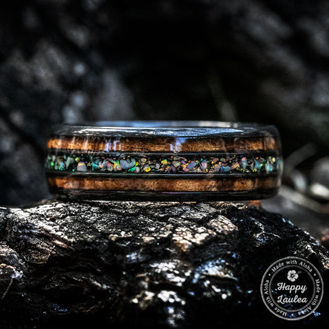 Black Zirconium Ring with Hawaiian Koa & Fire Opal Tri-Inlay - 8mm, Dome Shape, Comfort Fitment