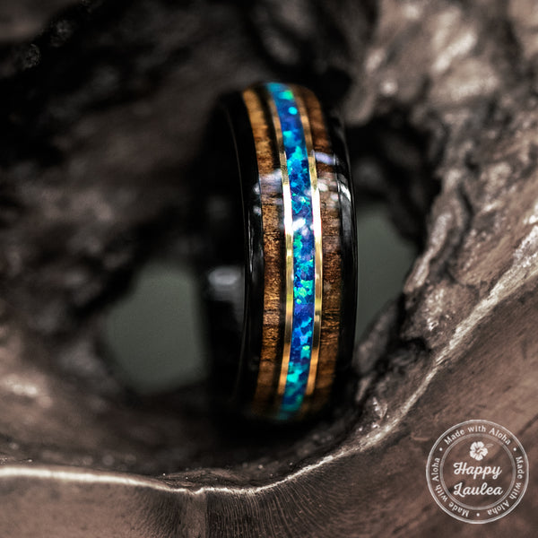 Black Tungsten with Gold Strip Ring with Blue Opal & Hawaiian Koa Wood Tri-Inlay - 8mm, Dome Shape, Comfort Fitment