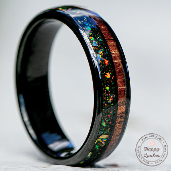 Black Tungsten Ring with Midnight Fire Opal & Hawaiian Koa Wood Duo Inlay - 6mm width,  Dome Shape, Comfort Fitment