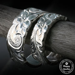 Pair of 6&8mm Sterling Silver Hawaiian Heirloom Rings - Flat Shape, Cutout Edges, Standard Fitment