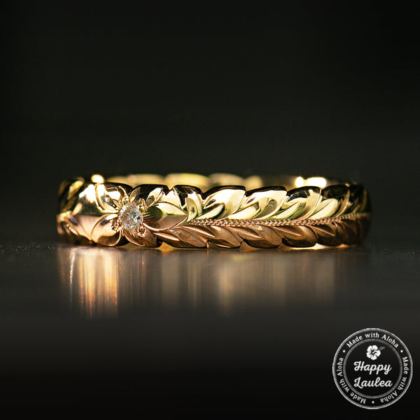 14K Solid Gold Two Color Maile Leaf Design Hawaiian Jewelry Ring with Diamond [ 4mm ] Barrel Shape with Cutout wave Edges