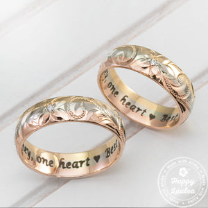 14K Tri-Color 6mm Gold Ring Hand Engraved Old English Design