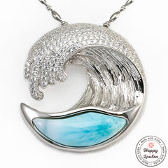 925 Sterling Silver Larimar Wave Pendant with Cubic Zirconia Settings