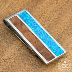 Solid Stainless Steel Money Clip with Blue Opal & Koa Wood Inlay