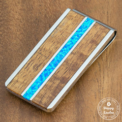 Stainless Steel Money Clip with Blue Opal & Koa Wood Tri-Inlay
