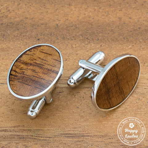 Silver Coated Brass Oval Cuff Links with Hawaiian Koa Wood inlay - 12mm x 14mm
