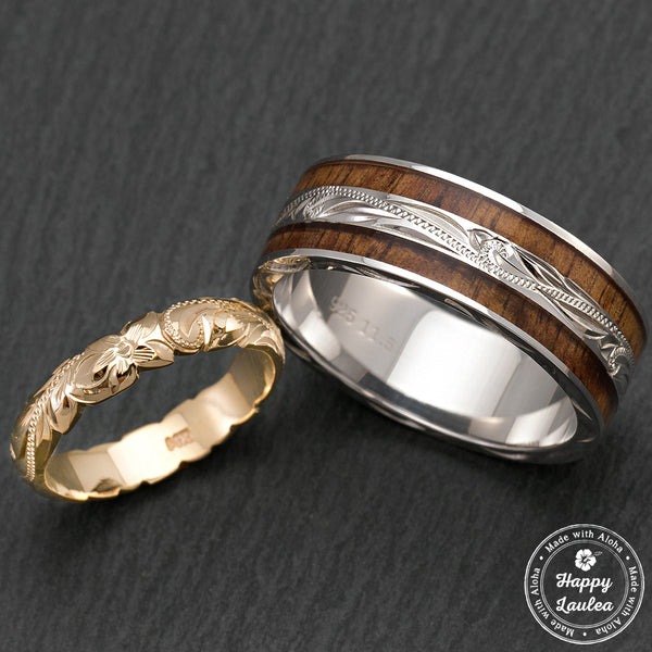Pair of Hand Engraved 14K Gold And Sterling Silver Ring Set with Hawaiian Koa Wood Inlay - 4&8mm, Standard Fitment