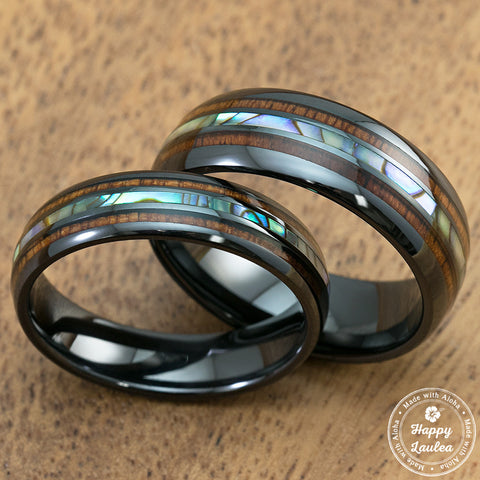 Pair of 6 & 8mm Black Ceramic Ring with Mid-Abalone Shell and Koa Wood Inlay, Barrel Style, Comfort Fitment