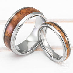 Pair of 4&8mm Tungsten Carbide Couple/Wedding Rings with Hawaiian Koa Wood Inlay - Dome Shape, Comfort Fitment