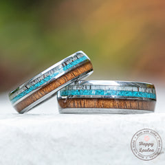 Pair of 6&8mm Tungsten Carbide Rings with Antler, Turquoise, & Hawaiian Koa Wood Inlay - Dome Shape, Comfort Fitment