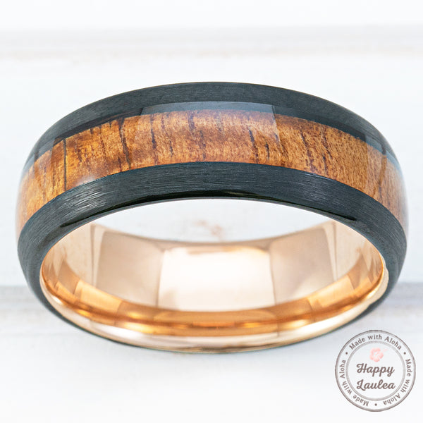 Black & Rose Gold Tungsten Carbide Ring with Hawaiian Koa Wood Inlay - 8mm, Comfort Fitment, Dome Shape