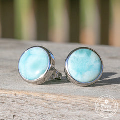 Round Shaped Sterling Silver Larimar Stud Earrings