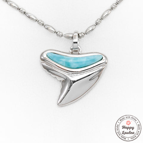 925 Sterling Silver Petite Shark Tooth Pendant with Larimar Stone Setting