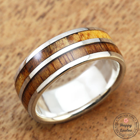 925 Sterling Silver Ring with Hawaiian Koa Wood Duo Inlay - 8mm, Dome Shape, Standard Fitment