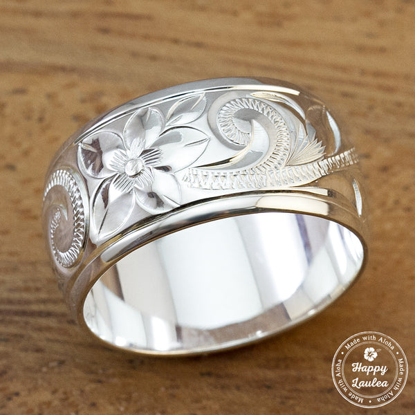 925 Sterling Silver Hand Engraved Old English Design Ring with Polished Edges - 10mm, Dome Shape, Standard Fitment