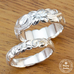 Pair of 925 Sterling Silver Hand Engraved Old English Design Rings - 4&6mm, Dome Shape, Standard Fitment
