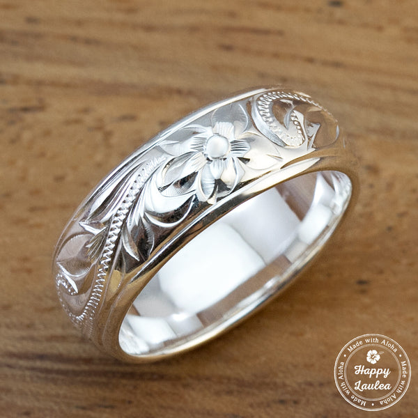 925 Stering Silver Ring Hand Engraved Old English Design with Polished Edges - 6mm-8mm, Dome Shape, Standard Fitment