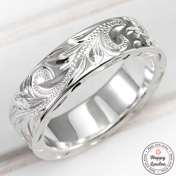 925 Sterling Silver Hawaiian Jewelry Ring - Hand Engraved with Old English Design - 6x2mm, Flat Shape, Standard Fitment