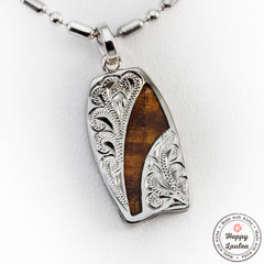 925 Sterling Silver Hand Engraved Body Board Motif Pendant with Koa Wood Inlay