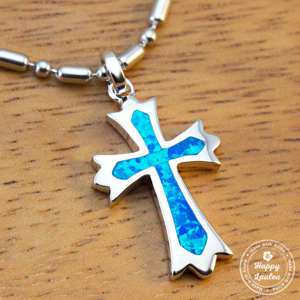 Sterling Silver Cross Pendant with Blue Opal Inlay