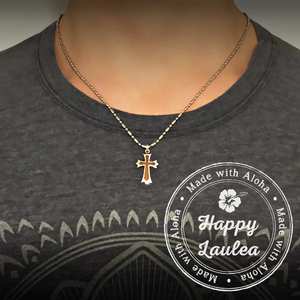 Sterling Silver Cross Pendant with Koa Wood Inlay