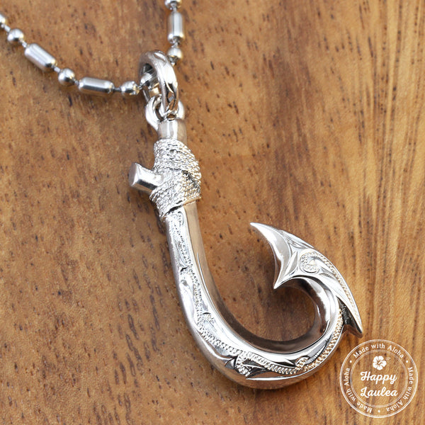 925 sterling silver fish hook pendant hand engraved