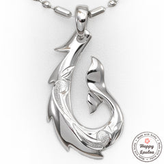 925 Silver Fish Hook Pendant with Hand Engraved Hawaiian Scroll Design