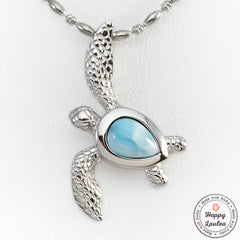 925 Sterling Silver Realistic Hawaiian Sea Turtle Pendant with Larimar Stone Setting