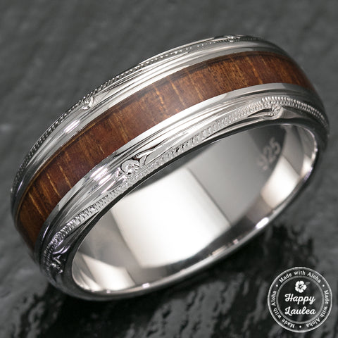 Sterling Silver Hawaiian Jewelry Ring with Koa Wood Inlay - 8mm, Dome Shape, Standard Fitment