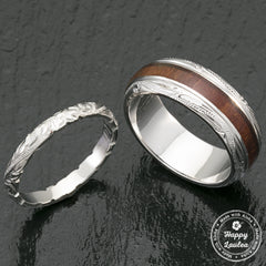 Pair of Platinum & Sterling Silver Koa Wood Hawaiian Jewelry Rings - 3&8mm, Dome Shape