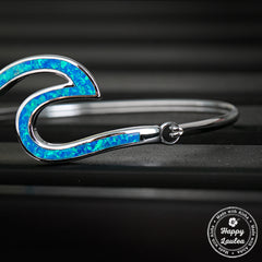 Ocean Wave Sterling Silver Hinge Bracelet with Blue Opal Inlay