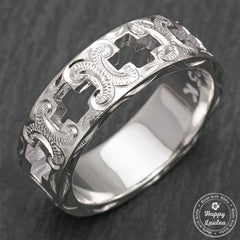 925 Sterling Silver Hand Engraved Open Cross Ring with Hawaiian Old English Design - 8mm, Flat Shape, Standard Fitment
