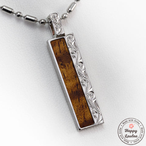 925 Sterling Silver Hand Engraved Pendant with Koa Wood Inlay