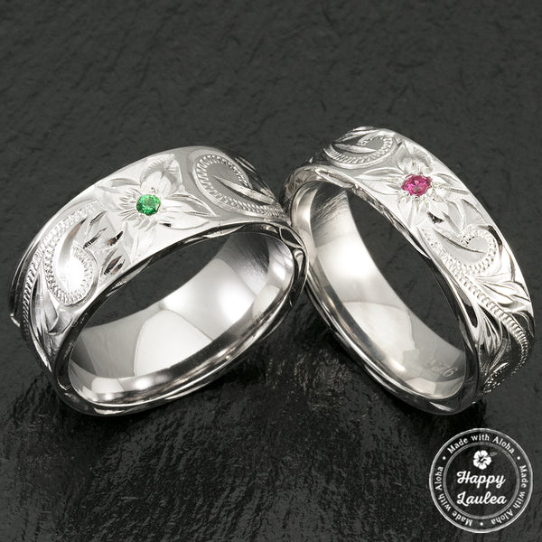 Sterling Silver Hawaiian Jewelry Ring with Birth Stone Setting - 6-8mm, Flat Shape, Comfort Fitment