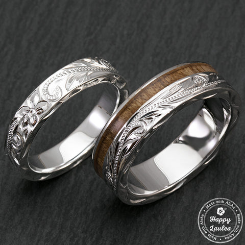 Sterling Silver Hawaiian Jewelry Couple/Wedding Ring Set with Koa Wood Inlay - 4 & 6mm Width, Flat Style, Standard Fitment