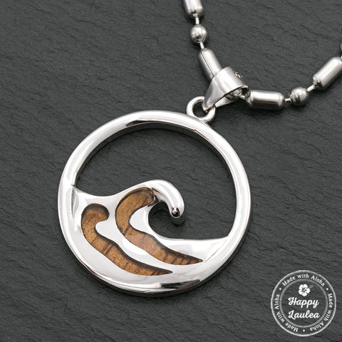 Sterling Silver Wave Pendant with Koa Wood Inlay - Chain Included