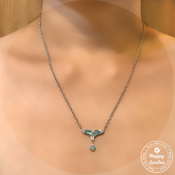 925 Sterling Silver Whale Tail & Tear Drop Necklace with Abalone Pau'a Shell Inlay