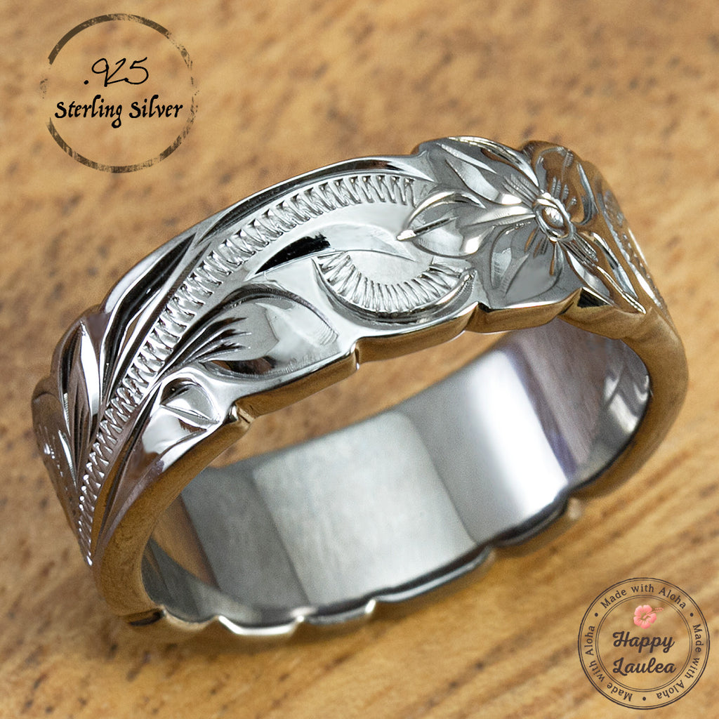 Sterling Silver Black Rhodium 8mm Ring - Hand Engraved Hawaiian Old English Design with Wave Edge