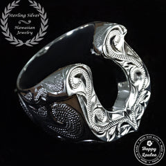 Sterling Silver Masculine Horse Shoe Ring Hand Engraved with Hawaiian Scroll Design