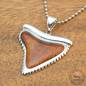 925 Sterling Silver Shark 'Mano' Tooth Pendant with Hawaiian Koa Wood Inlay