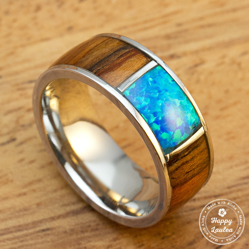 Stainless Steel Ring with Koa Wood & Center Opal Inaly - 8mm, Dome Shape, Comfort Fitment