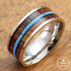 Stainless Steel Ring with Koa Wood and Mid-Strip Turquoise Inlay - 8mm, Flat Shape, Comfort Fitment