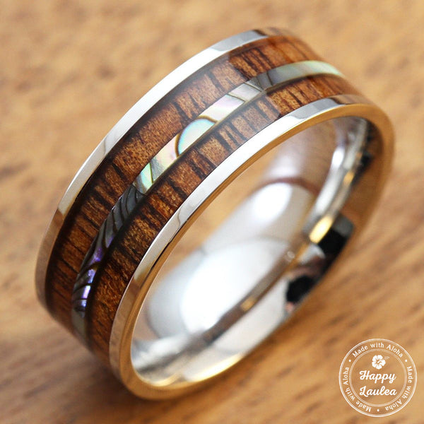Stainless Steel Ring with Koa Wood and Thin Mid-Strip Abalone Shell Inlay