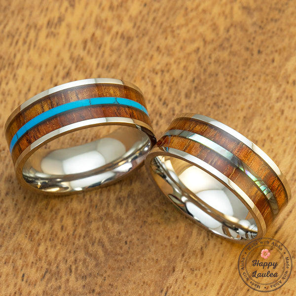 Pair of 8mm Stainless Steel Koa Wood Rings with Mid-Strip Abalone Shell & Turquoise, Comfort Fitment, Flat Style