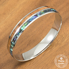 316L Stainless Steel Bracelet with Abalone Pau'a Shell & Hawaiian Koa Wood Inlay, 6mm-10mm, Dome Shape,