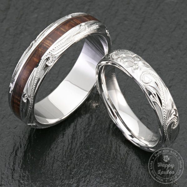 Pair of 4&6mm Sterling Silver Hawaiian Jewelry Couple/Wedding Rings with Koa Wood Inlay - Dome Shape,  Comfort Fitment